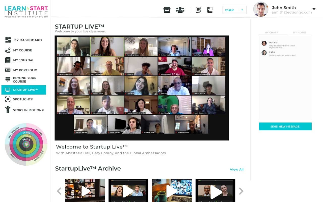Startup Live page